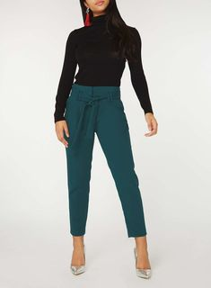 Womens Teal High Waist Tie Tapered Leg Trousers- Blue