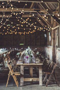 Festoon Lights DIY Decor Rustic Barn Wedding Humanist Ceremony Blessing Claire Penn Photography