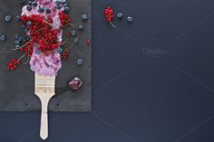 Summer fruits. Copy space, top view. by kawizen  on @creativemarket #berries #yogurt #violet #purple #painting #foodart #brush #tray #slatetray #servingtray #currants #blackberries #currant #redcurrant #topview #summer #season	#seasonal #fruits #flavor #red #explosion	#art #artistic #kitchentray #icecube	#frozencherry #frozen #icy #frosty #copyspace