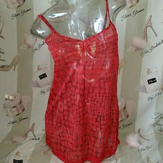 Victoria secret medium nightie sheer red lace Victoria secret medium nightie sheer red lace.  Great condition. Has a leopard type print, Tan brown and red.  Red hardware. Lace around bottom, and slits up the side.   Length is 21 inchesbust is 32 inches. Please lmk if you have any questions. Reasonable Offers accepted. Thank you for shopping my closet. :) Victoria's Secret Intimates & Sleepwear Pajamas