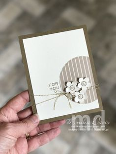 handmade greeting card ... clean and simple ... vanilla and kraft ... off-the-side cirlce focal point with a trio of punched flowers ... created by Monica Davis ... Stampin' Up!