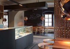 Cafe Interior Design Trendy Black Color Gradation Concept