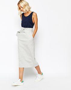Weekday Bonded Sweat D-Ring High Waist Pencil Skirt