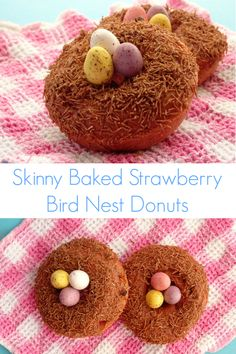 Skinny Baked Strawberry Bird Nest Donuts - A healthier take on a classic donut made with fresh strawberries. Super cute for Easter! | www.pinkrecipebox.com