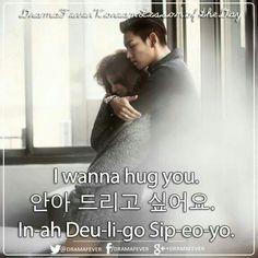 """I want to hug you."" #learn #Korean #Hangul #phrases #flashcards #KDrama"