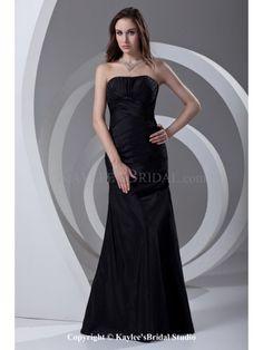 Taffeta Strapless Sheath Floor Length Crisscross Ruched Prom Dress