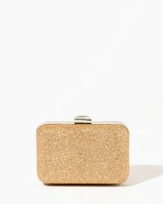 Make the outfit of your dreams come true with this accessory. Constructed in the perfect-handheld size and covered with lurex-woven fabric, this box clutch features a faceted baguette rhinestone closure and optional chain strap.
