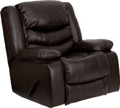 This motion recliner will provide you comfort with the added bonus of the rocking feature. The rocker recliner can not only be used in the living room, but makes for a great nursery chair. The gentle back and forth rocking is soothing to both babies and adults. The thick cushions add to the comfort level to provide you comfort while you relax . The durable leather upholstery allows for easy cleaning and regular care. [MEN-DSC01078-BRN-GG].