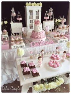 Shabby chic baptism party! See more party planning ideas at CatchMyParty.com!