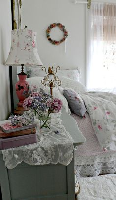 shabby chic bedroom - mix and match layers, lovely lampshade, flimsy drapes - pretty