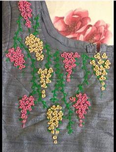 Saree Embroidery Design, Hand Embroidery Patterns Flowers, Hand Embroidery Videos, Hand Work Embroidery, Flower Embroidery Designs, Hand Embroidery Stitches, Beaded Embroidery, Janus, Churidar