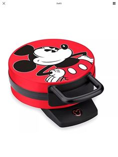Waffle Maker Disney Mickey Mouse Nonstick Cooking Plates Nonskid Rubber Feet Red #Disney