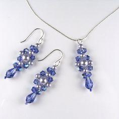 Purple Necklace Tanzanite Necklace Set Bridesmaid Necklace Swarovski Crystal Swarovski Pearl Beaded Sterling Silver Chain