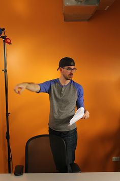 Andrew handles Assistant Directing duties.
