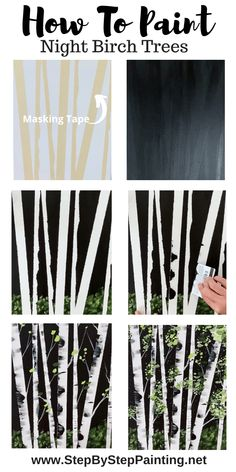 How To Paint Birch Trees – Easy Step By Step Painting Tutorial - Painting Techniques Canvas Painting Tutorials, Painting Lessons, Acrylic Painting Canvas, Painting Techniques, Diy Painting, Art Lessons, Tree Painting Easy, Matte Painting, Acrylic Art