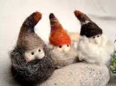 Autumn gnomes - DIY - needle felted gnomes - lutins en laine cardée