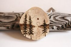 Nature Art Original By TwigsandBlossoms 3000 This Lovely Spalted Birch Round With The Bark Removed Has A Woodland Lake Scene Burnt Into Wood