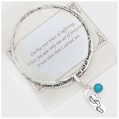 "Footprint Sandal Charm Bracelet NWT- Silver burnished footprint twisted bracelet with sandal and turquoise charms 2 5/8"" Diameter Boutique Jewelry Bracelets"