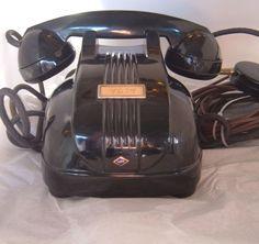 Vintage NEC Art Deco look Black Direct dial phone heavy!