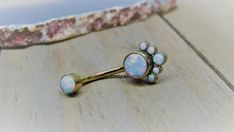 Titanium belly button ring 14g rose gold curved barbell white opal cluster vch piercing bar