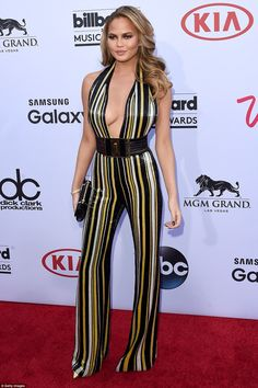 On the fence: Though host Chrissy Teigen won points for trying something different, it's not really clear if this jumpsuit works