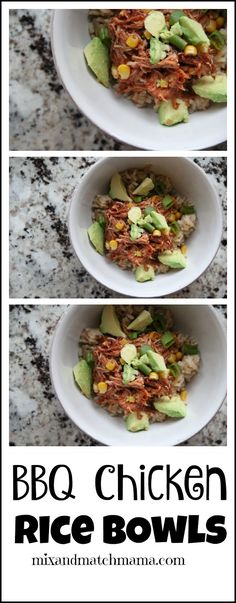 BBQ Chicken Rice Bowls are prepped in the slow cooker and are insanely ...