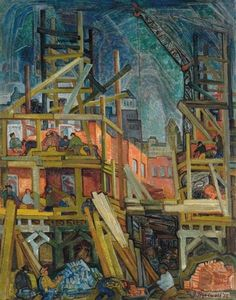 """""""Downtown Construction,"""" Grace Treadwell, 1935, oil on canvas, 37 x 30"""", private collection."""