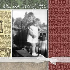 scrapbook vintage layout - i like the simple color blocks with the ribbon tied in a bow.