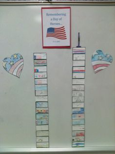 """9/11 Writing Project - I still have a hard time teaching on this topic, so today we focused on the heroes of September 11th. After a video and discussion about how amazing people can be when they come together for good, the kids """"rebuilt"""" the towers from cardstock bricks. Each one had an idea for a way they could be a hero every day."""