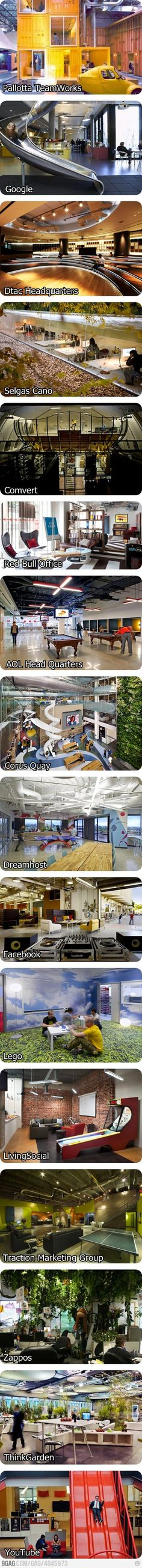 cool offices..... but if I was in the youtube one I would challenge people every day to a slide race no doubt