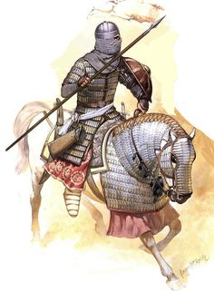 illustration of angus mcbride showing an afghan muslim armoured cavalryman of the Umayyad Caliphate after the muslim conquest of persia in the mid century AD, during the wars against the Transoxianian turks Fantasy Armor, Medieval Fantasy, Military Art, Military History, Moslem, Sassanid, Early Middle Ages, Historical Art, Dark Ages