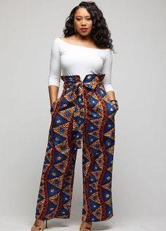 Lina African Print Wide Leg Envelope Pant (Blue Pyramids) – D'IYANU Source by Fashion dresses African Print Jumpsuit, African Print Clothing, African Print Dresses, African Prints, African Fabric, African Clothes, Modern African Dresses, Kente Styles, Women Pants