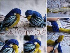 How to DIY Cute Yarn Birdie | www.FabArtDIY.com