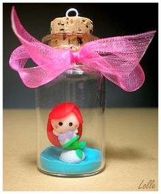 Mini Fimo Clay Ariel Little Mermaid In A Jar, by LolleBijoux  #cute #kawaii #disney #disneyprincess #clay #craft
