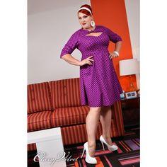 Daphne - plum Dot Dress