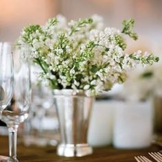 Love how simple and sweet this mint julep individual centerpiece looks.