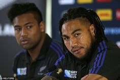 New Zealand's Ma'a Nonu (near) and Julian Savea (far) look on during Thursday's press conference