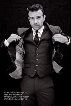 Jason Sudeikis - InStyle magazine, August 2013: Man of Style.  Alexander McQueen jacket, vest, trousers at Mrporter.com ~ Louis Vuitton: shirt.  Burberry London: tie.