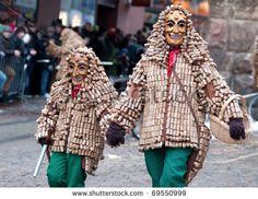 stock photo : FREIBURG, GERMANY -FEBRUARY 15 : Mask parade at the historical carnival on February 15, 2010 in Freiburg, Germany