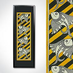 Shop Monochromatic Madhubani Painting Featuring Fishes by Kalakruti online. Largest collection of Latest Wall Art and Paintings online. Small Canvas Paintings, Indian Art Paintings, Paintings Online, Abstract Paintings, Madhubani Art, Madhubani Painting, Fabric Painting, Painting & Drawing, Kalamkari Painting