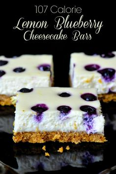 Lemon Blueberry Cheesecake Dessert Bars These perfectly portion controlled Lemon Blueberry Cheesecake indulgences have Only 107 CALORIES each! It's a no guilt way to satisfy cheesecake cravings. Lemon Blueberry Cheesecake, Cheesecake Desserts, Just Desserts, Delicious Desserts, Dessert Recipes, Yummy Food, Cheesecake Squares, Cheesecake Bites, Cheescake Bars