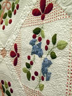 Close up, Cherry Tweet by Patty McKinney, quilted by Kathy Hunt.  Pattern by Chitter Chatter Designs