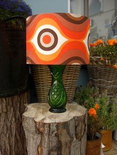 Vintage 70s lamp, green base and funky shade with graphic orange and brown pattern