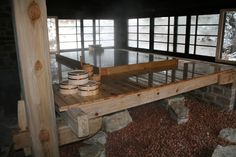 Japanese elevated bath with views and sliding doors on two sides