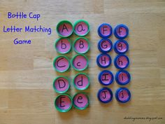Dabblingmomma: Bottle Cap Letter Matching and Memory Game