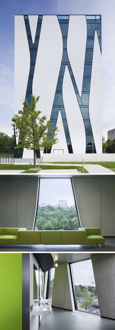 The white exterior of this modern library is made more unique by the elongated windows, connected by strips of glass, th… – architecture Architecture Windows, Futuristic Architecture, Architecture Design, Architecture Models, Architecture Student, Classical Architecture, Sustainable Architecture, Amazing Architecture, Landscape Architecture