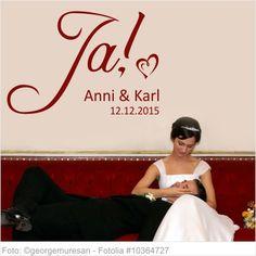 Wandtattoo Hochzeit Ja mit Vornamen und Datum 05