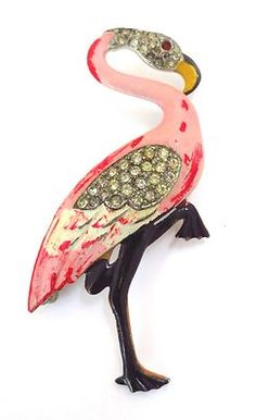 WONDERFUL LARGE VINTAGE PINK FLAMINGO ENAMEL RHINESTONE BROOCH c.1940