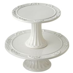 Embossed Vintage French Design White Cake Stand