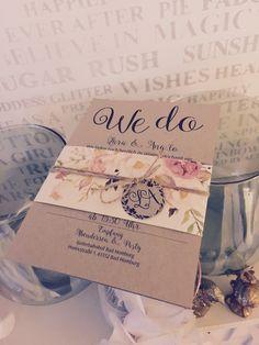 Einladungskarten Hochzeit Vintage mit Aquarell Blumen , watercolor, Kordel und Kraft Papier  - hand Made by flairville